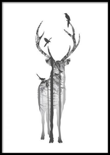e808e29a646 Forest silhouette, posters. Plakat med hjort. Sort-hvid plakat med ...