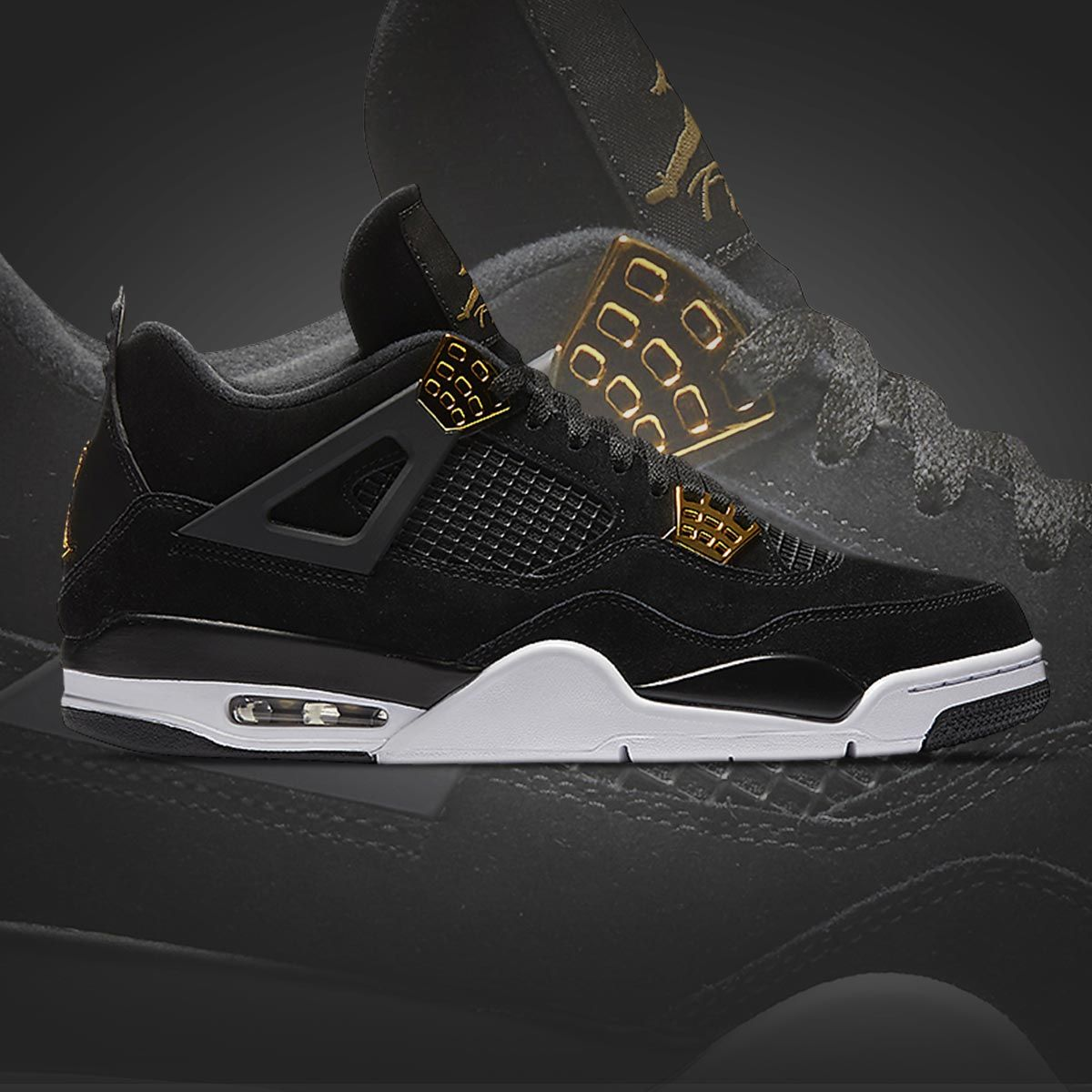 huge discount 1d76f 11975 Metallic gold finishes fit for a king. The Jordan Retro 4  Royalty  is out  now.