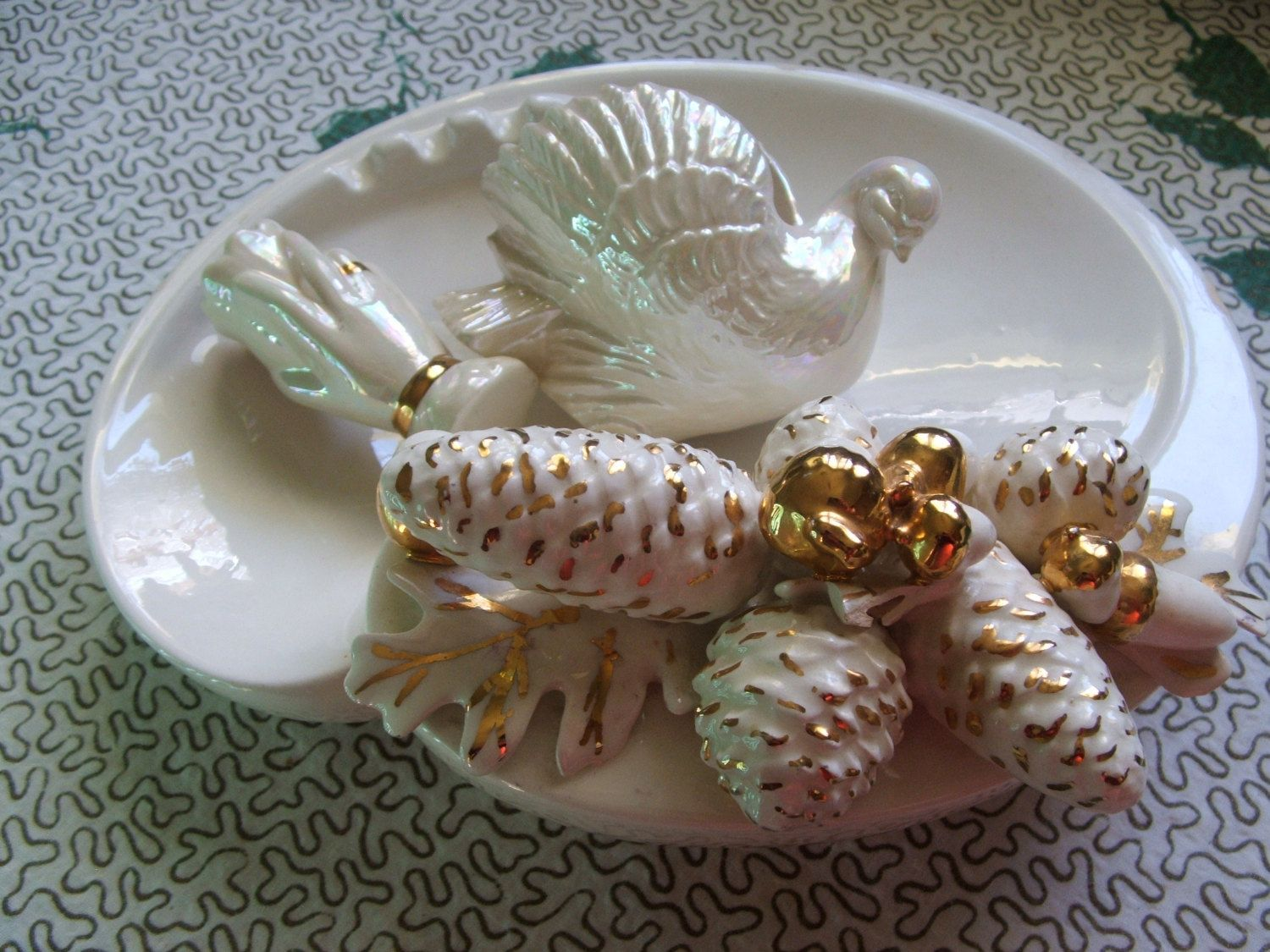 Winter Wedding Ceramic Collection Pine Cones and Acorn Ashtray  Dove Planter and Hand Vase by lookonmytreasures on Etsy