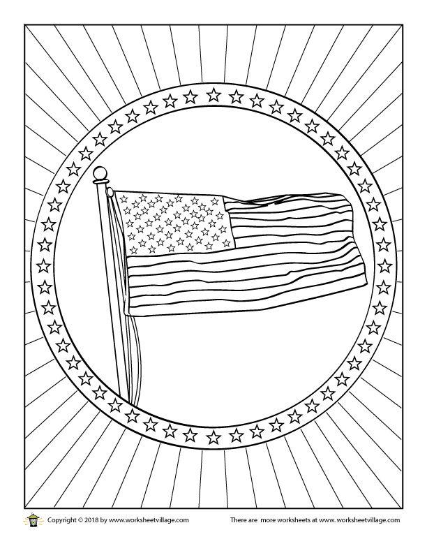American Flag Waving Coloring Page - Worksheet Village ...