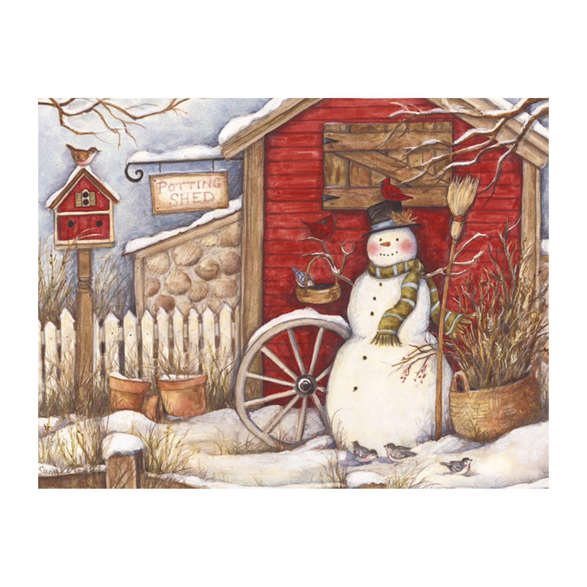 18ct Winter Barn Holiday Boxed Cards Christmas prints