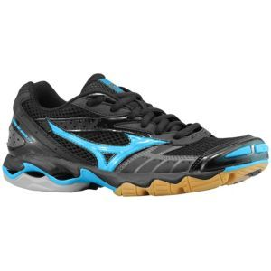 black and blue mizuno volleyball shoes