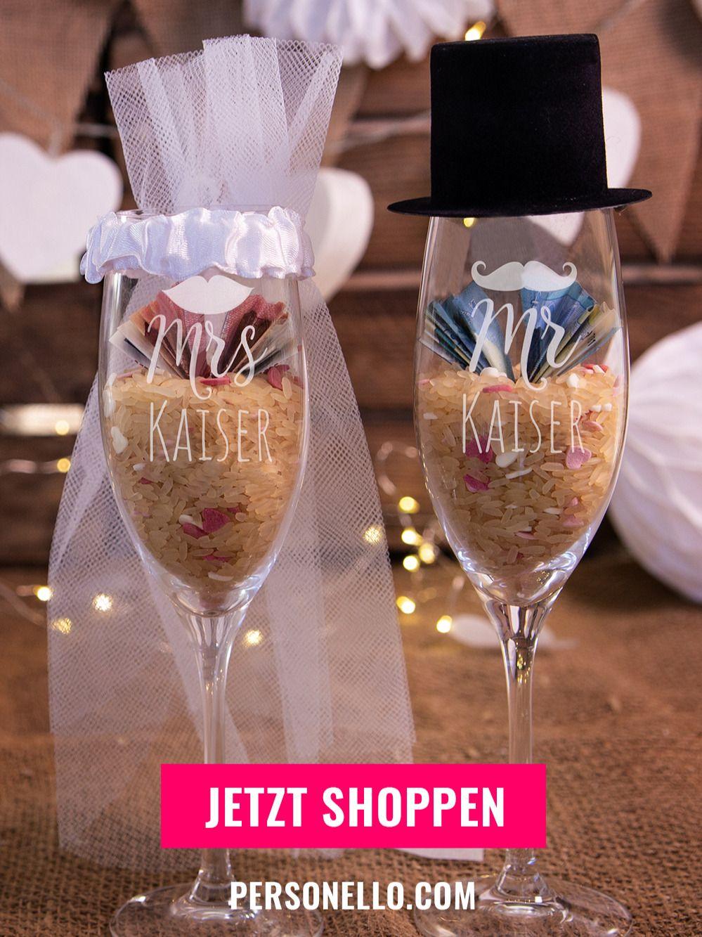 Sektglas Mit Namen Diy Geldgeschenk Für Das Brautpaar