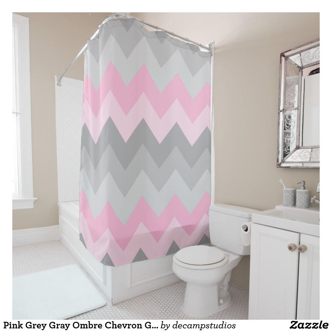 Pink Grey Gray Ombre Chevron Girl Bathroom Shower Curtain