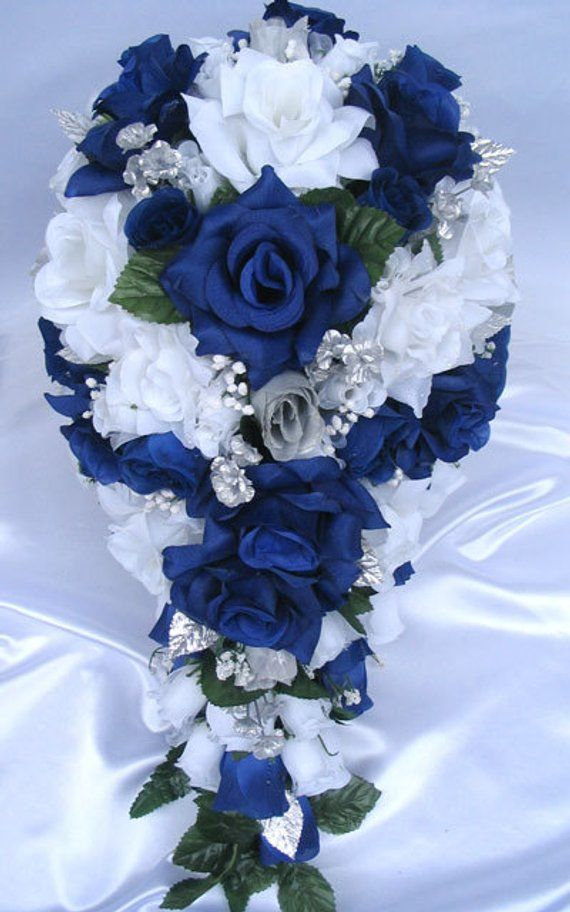 Wedding bouquet flowers bridal silk cascade dark blue royal silver wedding bouquet flowers bridal silk cascade dark blue royal silver 21 piece package bride arrangeme mightylinksfo