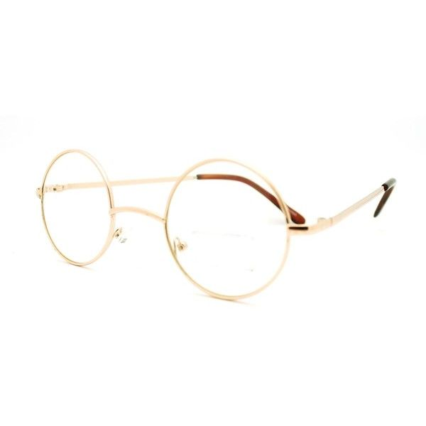 946ca768fd5 Round Circle Clear Lens Eyeglasses Small Size Thin Frame Unisex... ( 9.94)  ❤ liked on Polyvore featuring accessories