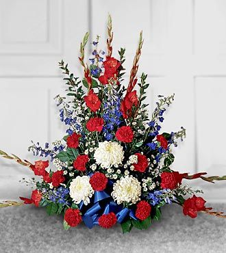 Red white blue arrangements for veterans day everyday for Red white blue flower arrangements