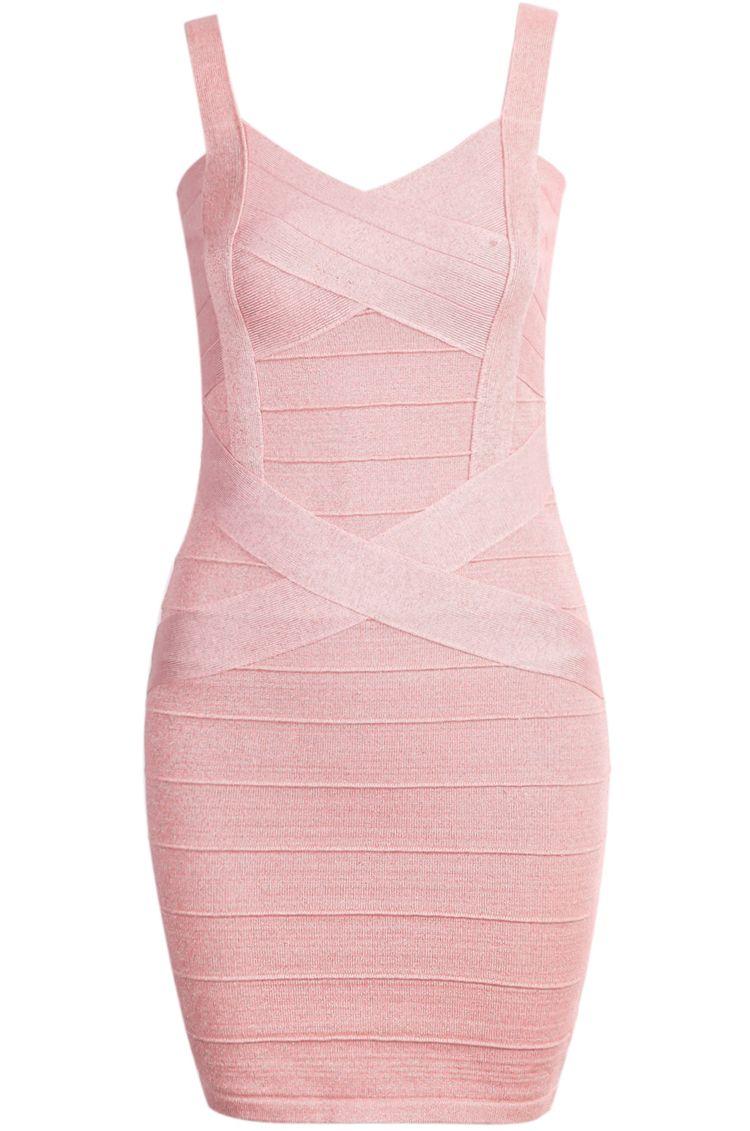 Pink spaghetti strap bandage dress chic sheinside