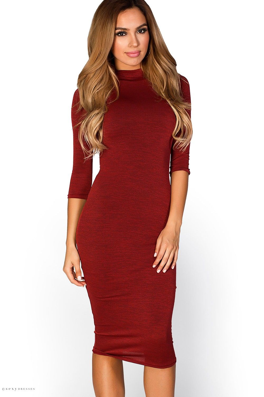 Midi length high neck bodycon rust red dress with sleeves