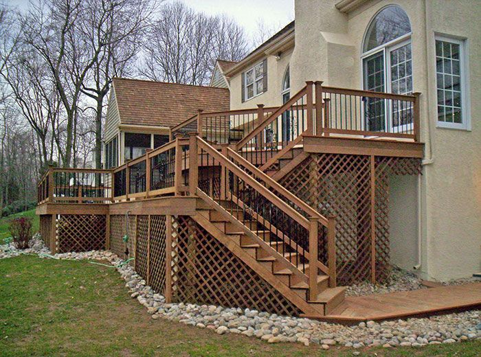 Lattice under deck putting stone and fabric under decks for Does a walkout basement cost more