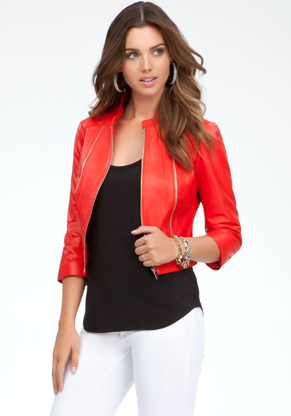 Bebe Red Cropped Leather Jacket Lyst Cropped Leather Jacket Leather Jackets Women Jackets For Women [ 1458 x 1020 Pixel ]