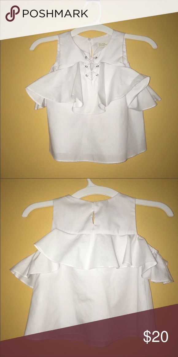 b120853e596155 Zara girls lace up blouse Zara girls lace up blouse size 6. Cut our  sleeves. Fits true to size. Casual collection. Color white Zara Shirts &  Tops Blouses
