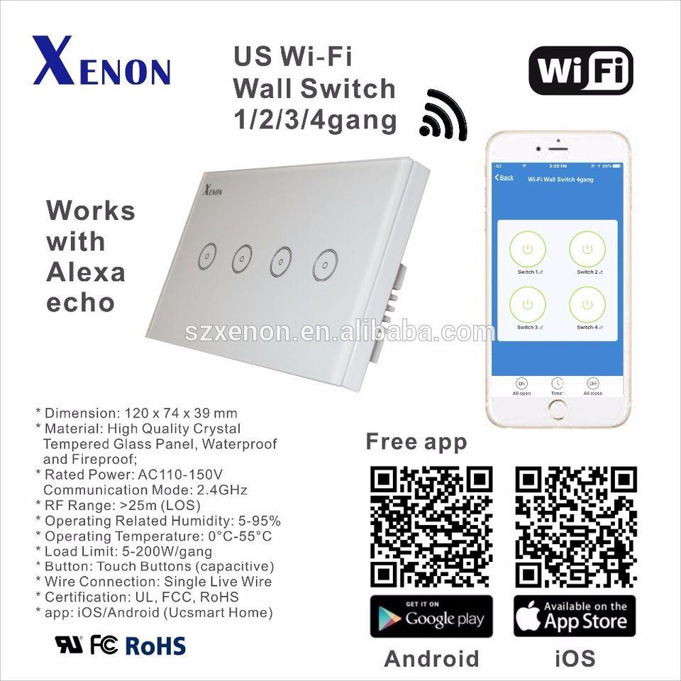 Xenon Wifi Panel 4 Gang Alexa Echo Smart Wi Fi Switch Wall Switch 110 240v White Us Touch Light Switch Panel