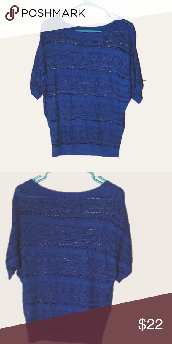 🛍 Bright blue sweater like off the shoulder tunic This Express sweater is so cute. It hangs off the shoulder. It's a gorgeous bright shade of blue. It is sweater material. In great condition, only worn a few times. Size small.  #express #blue #bright #sweater #offtheshoulder #tunic #cardigan #cute #comfortable #thelimited #style #leggings Express Sweaters Crew & Scoop Necks