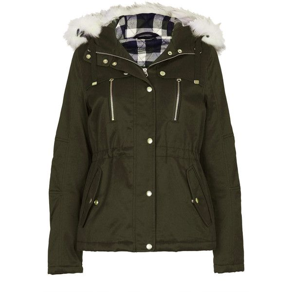 TOPSHOP Short Padded Parka Jacket (£40) ❤ liked on Polyvore featuring outerwear, jackets, coats, casacos, khaki, padded parka jacket, quilted cotton jacket, short parka, quilted parka and cotton jersey