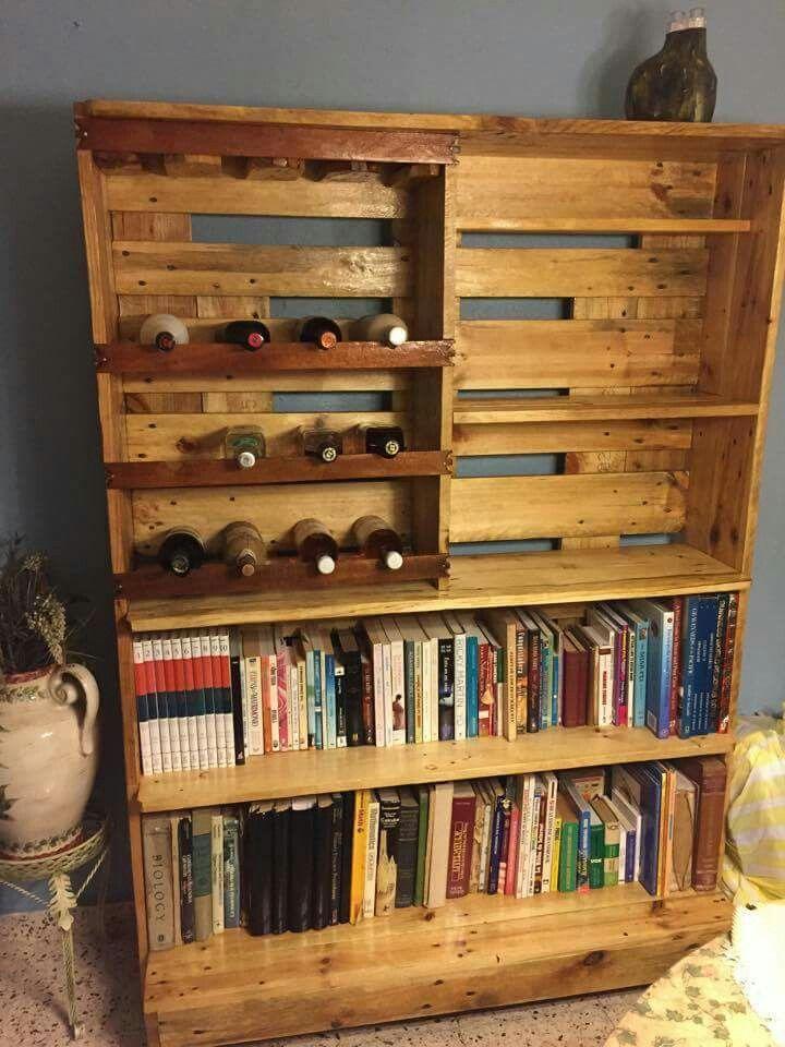 Librero con vinera y porta copas hecho en palets by los inventos de luis muebles en palets - Muebles hechos con palets ...