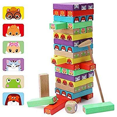 Amazon.com: Lewo Colored Stacking Game Wooden Building ...