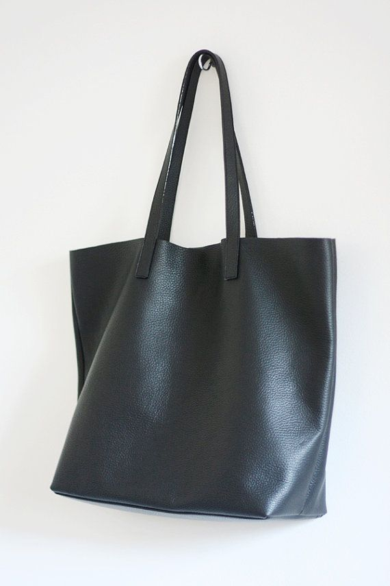 LILA Large Everyday Black Leather Tote Bag by MISHKAbags on Etsy ...