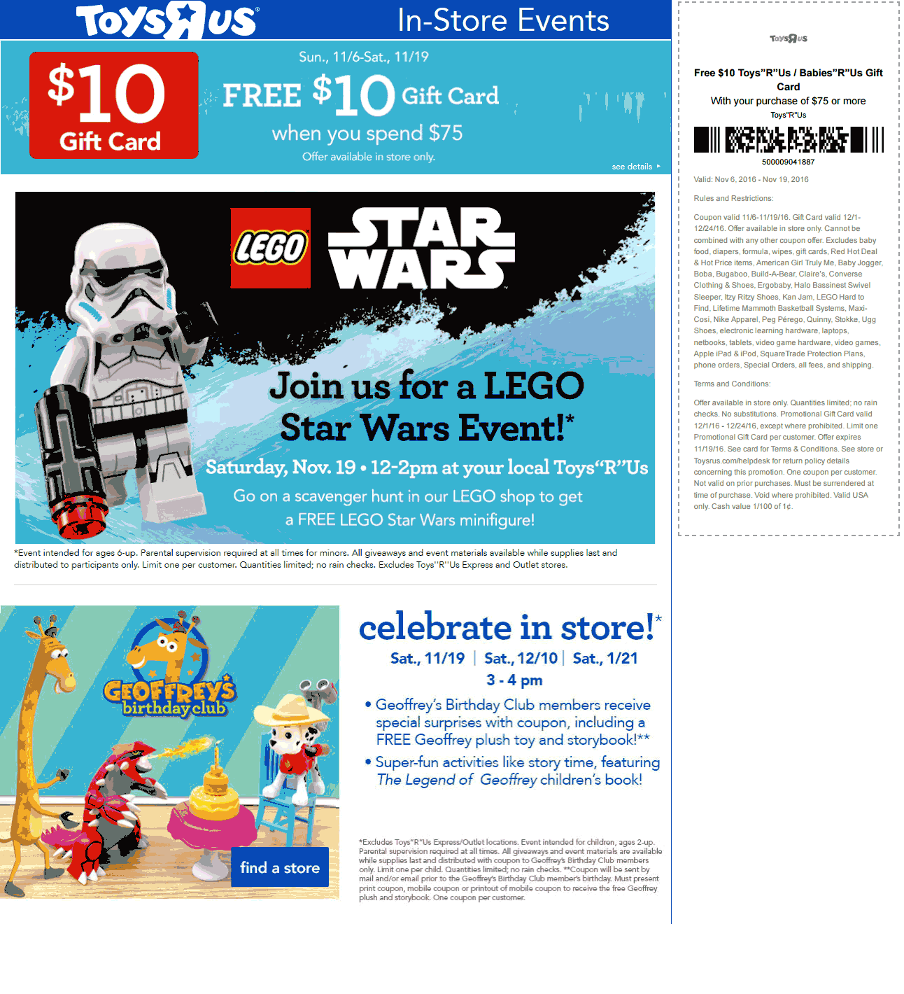 Pinned November 18th: #FREE #LEGO Star Wars figure Saturday also $10 gift card on $75 spent at Toys R Us #TheCouponsApp