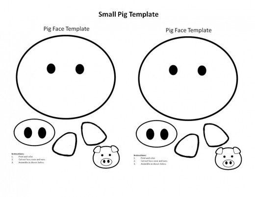 printable template to print, color, and make pig face. Use