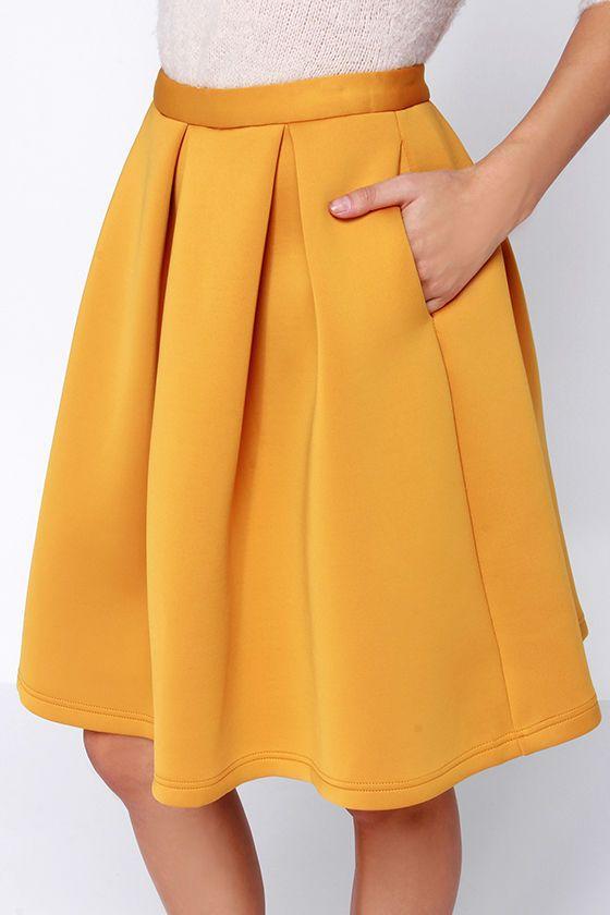 Perfect Balance Mustard Yellow Pleated Midi Skirt at Lulus.com ...