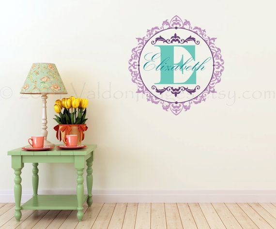 Victorian monogram wall decal wall words sticker by ValdonImages $47.00 & Victorian monogram wall decal wall words sticker by ValdonImages ...
