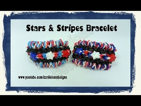 Rainbow Loom STARS and STRIPES Bracelet. Designed and loomed by Kate Schultz of Izzalicious Designs. Click photo for YouTube tutorial. 05/27/14.