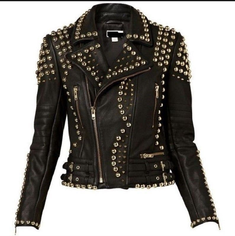Customized Handcrafted Women S Black Color Silver Studded Genuine Leather Jacket 279 In 2020 Studded Leather Jacket Studded Leather Studded Jacket