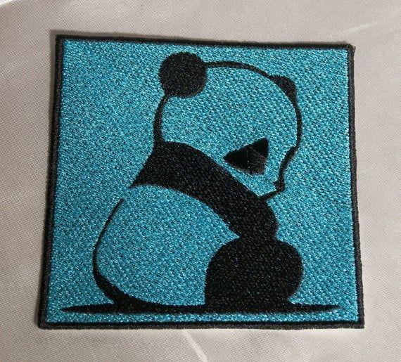 Embroidered Saddest Baby Panda Bear Cub Black & Aqua Blue Patch Iron On Sew On USA #babypandabears