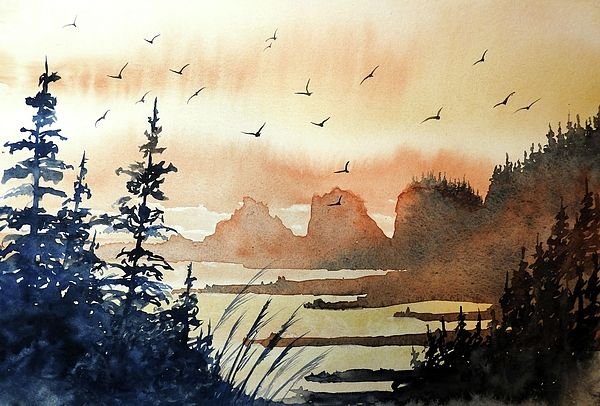 Bird Heaven Watercolor Aquarelle Dessin Art