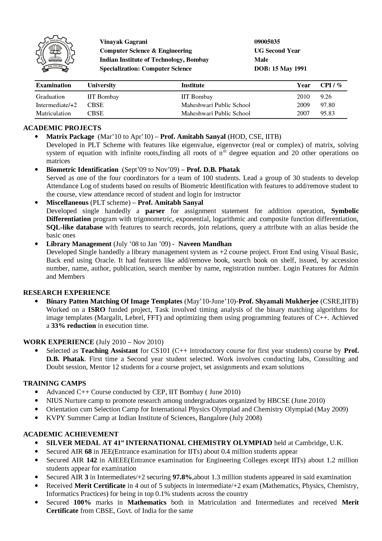 Computer Science Resumes Reddit Resume Sample For Ojt Student
