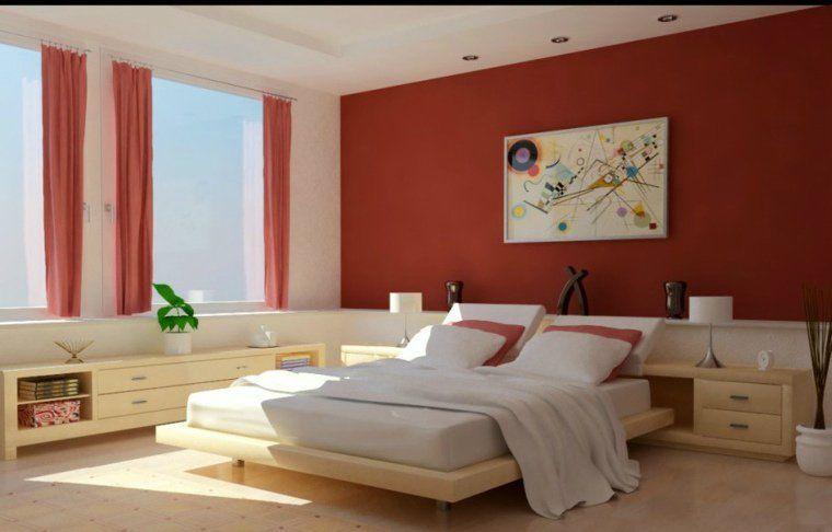 chambre à coucher avec murs en rouge et blanc | Peinture en couleur ...