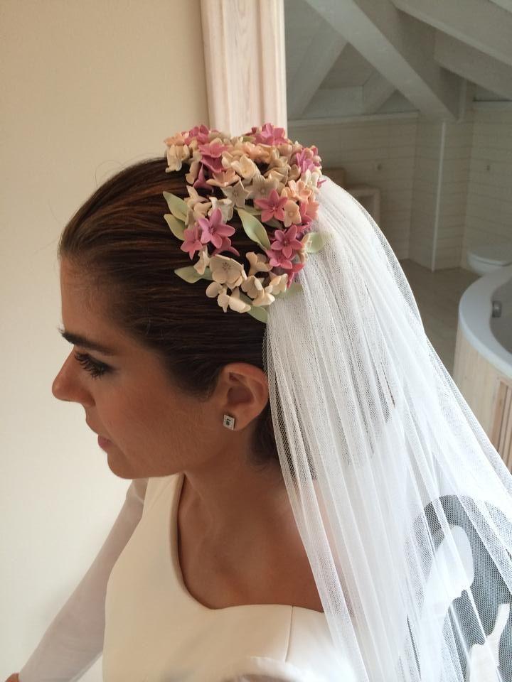Mo o bajo con semi corona de flores y velo novias - Monos bajos novia ...