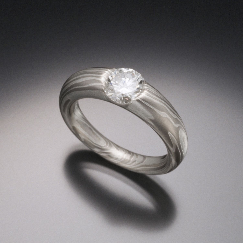 Terra Diamond Mokume Engagement Ring For Women With Smooth Set
