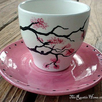 Cherry Blossom Teacup Set Pink Black White Tea Cups Painted Coffee Mugs Ceramic Painting