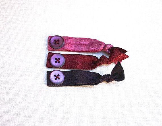 Set of 3 Elastic Hair Ties w Vintage Purple Buttons in Pink adb4986fe20