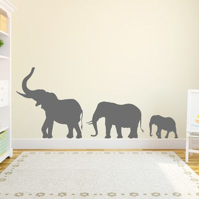 Wallums Wall Decor Marching Elephants Wall Decal Color: Storm Gray