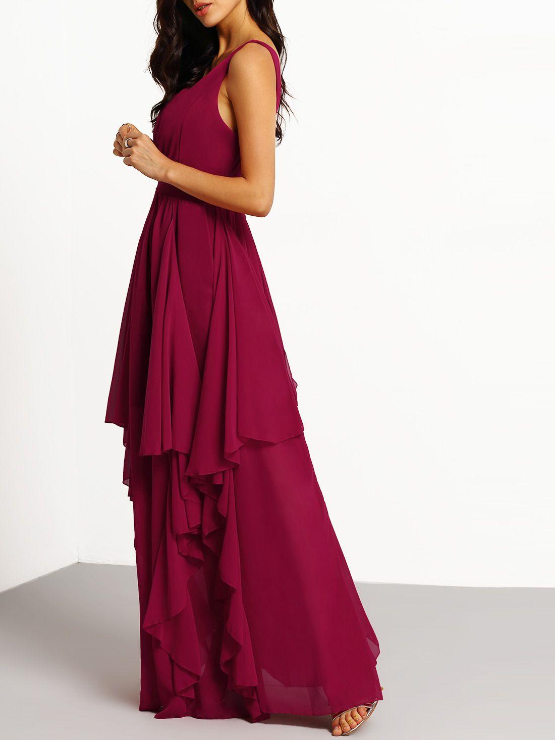 Chiffon Kleid mit tiefem V-Ausschnitt - burgund rot | Pinterest | Pflege