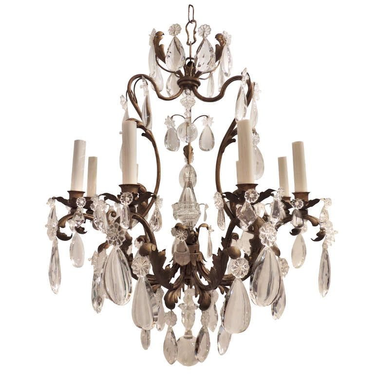 A Wonderful Nine Light Gilt Metal Crystal Chandelier By Maison Bagues From A Unique Collection Of A Chandelier Crystal Chandelier Chandelier Pendant Lights