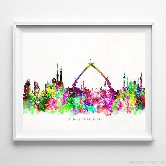 Baghdad, Iraq Watercolor Skyline Wall Art Poster