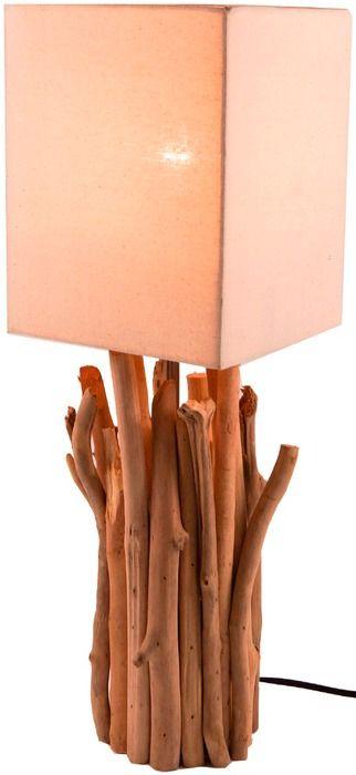Guru-Shop Tischleuchte Kukuma Holz, Textil, Natur