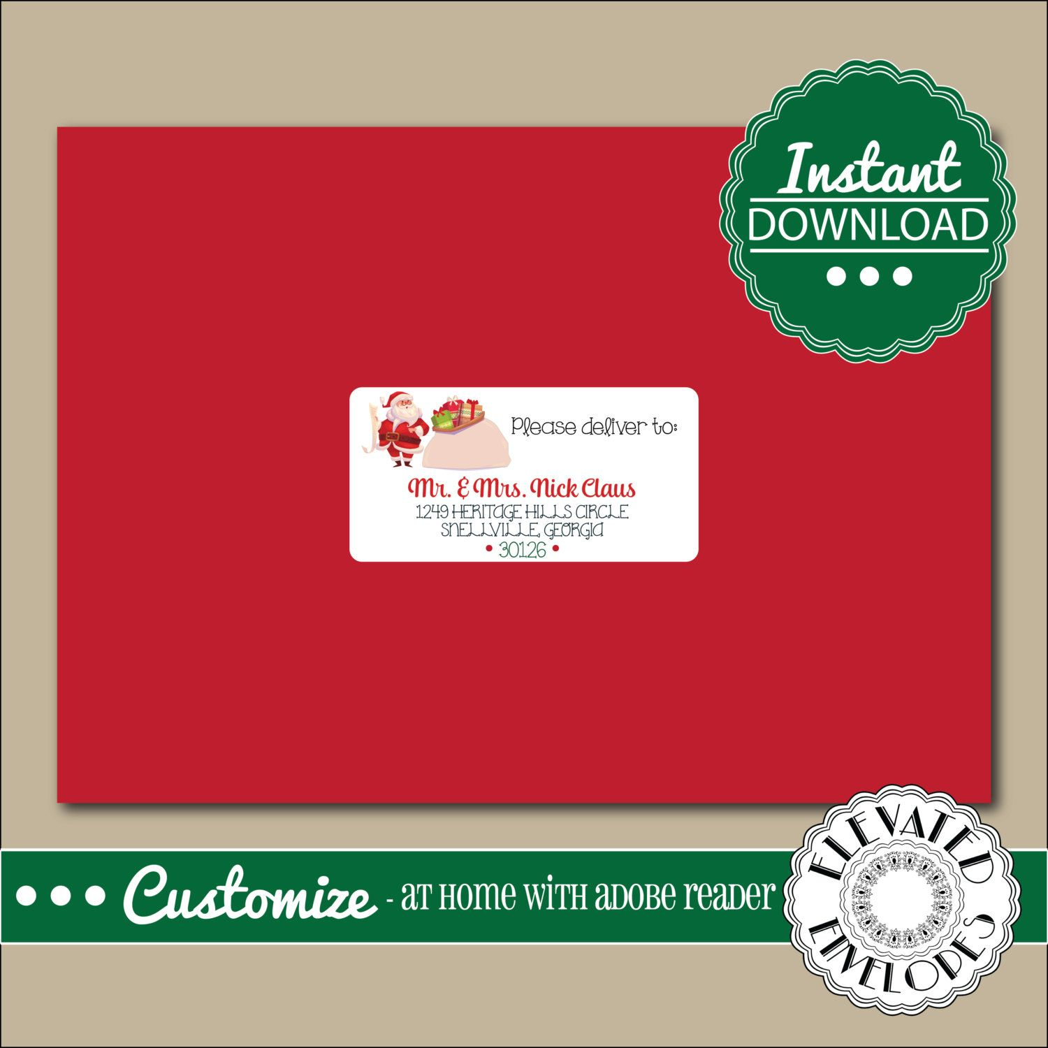 EDITABLE ADDRESS LABEL Template,Envelope Addressing,Christmas,Santa ...