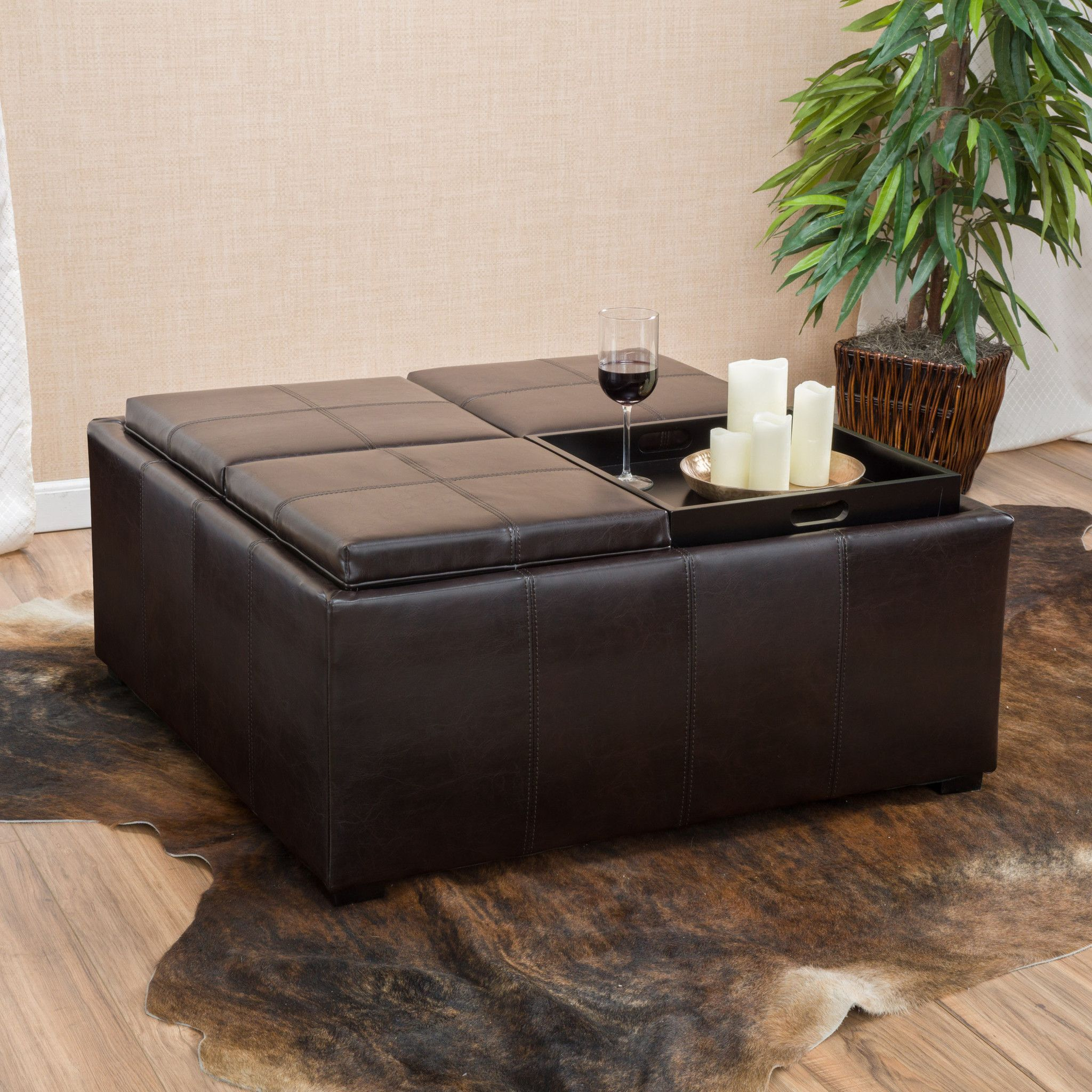 Geneva Brown Four Sectioned Leather Cube Storage Ottoman
