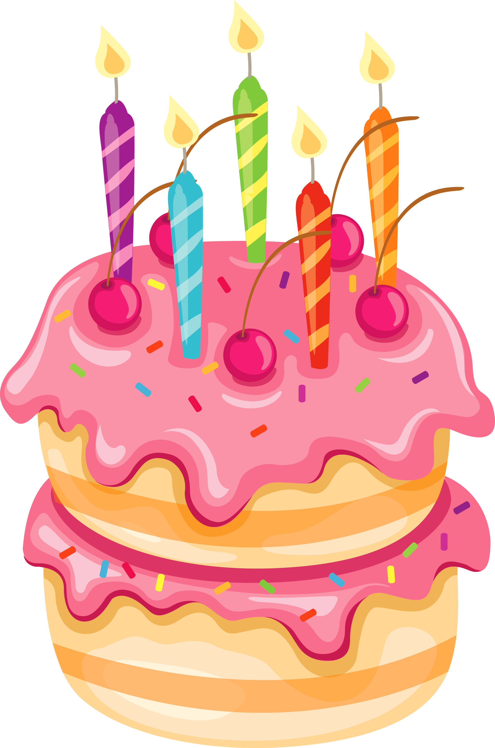 Clipart Birthday Dancing Cake : Pink Cake with Candles PNG Clipart ANIVERSARIS ...