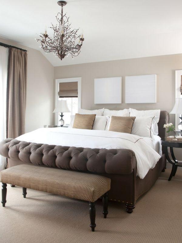 schlafzimmer einrichtungsideen polsterbett wandfarbe brauntöne - schlafzimmer mit polsterbett