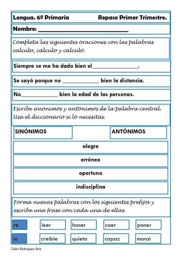 Fichas De Lengua Para Sexto De Primaria Fichas Sinónimos Y Antónimos Lengua