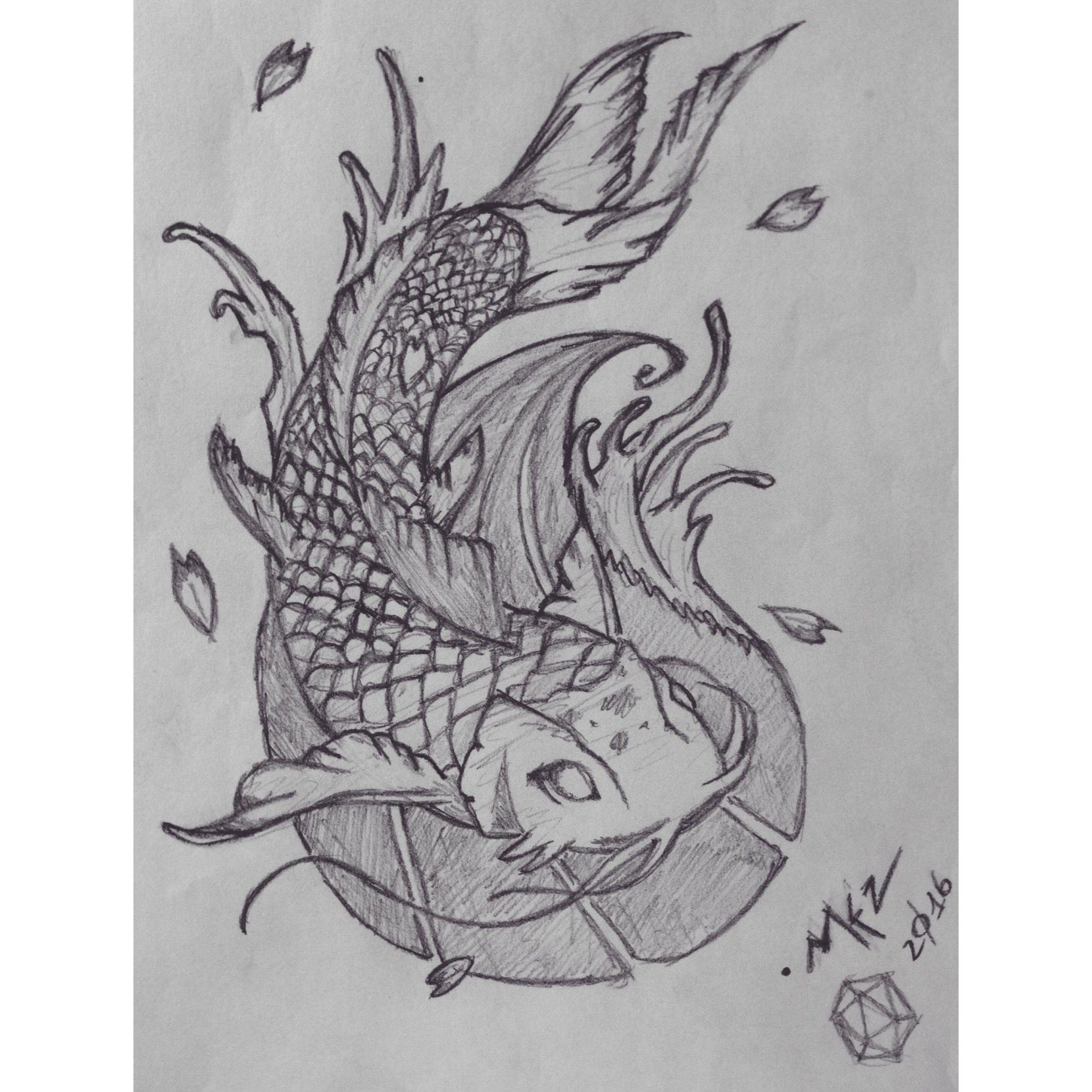 Koi Carp Sketch - work in progress  Artist: mezdrw