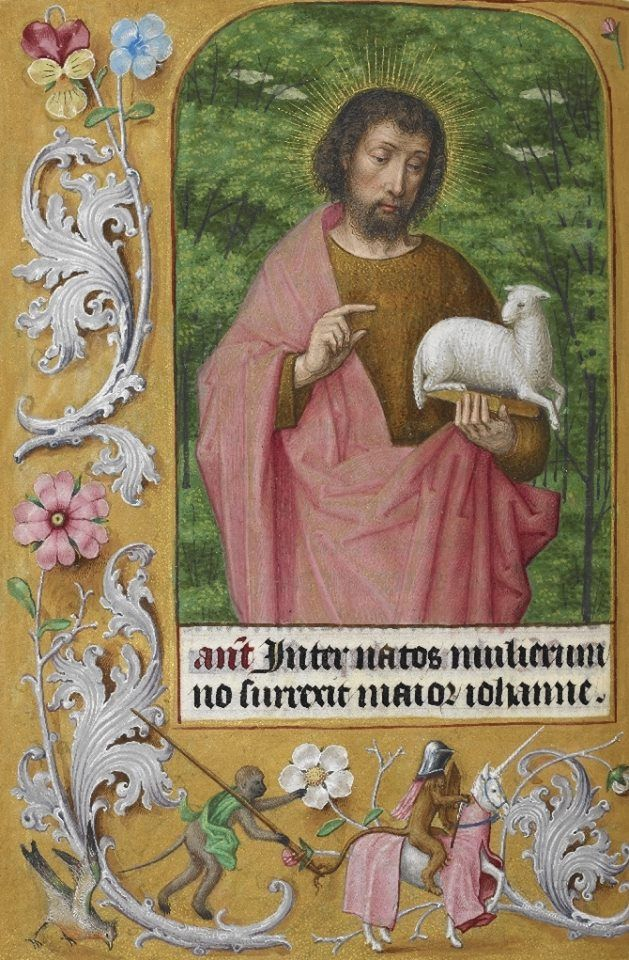 Detail of a miniature of St John the Baptist, from the Hours of Joanna I of Castile (Joanna the Mad), southern Netherlands (Ghent?), c 1500.