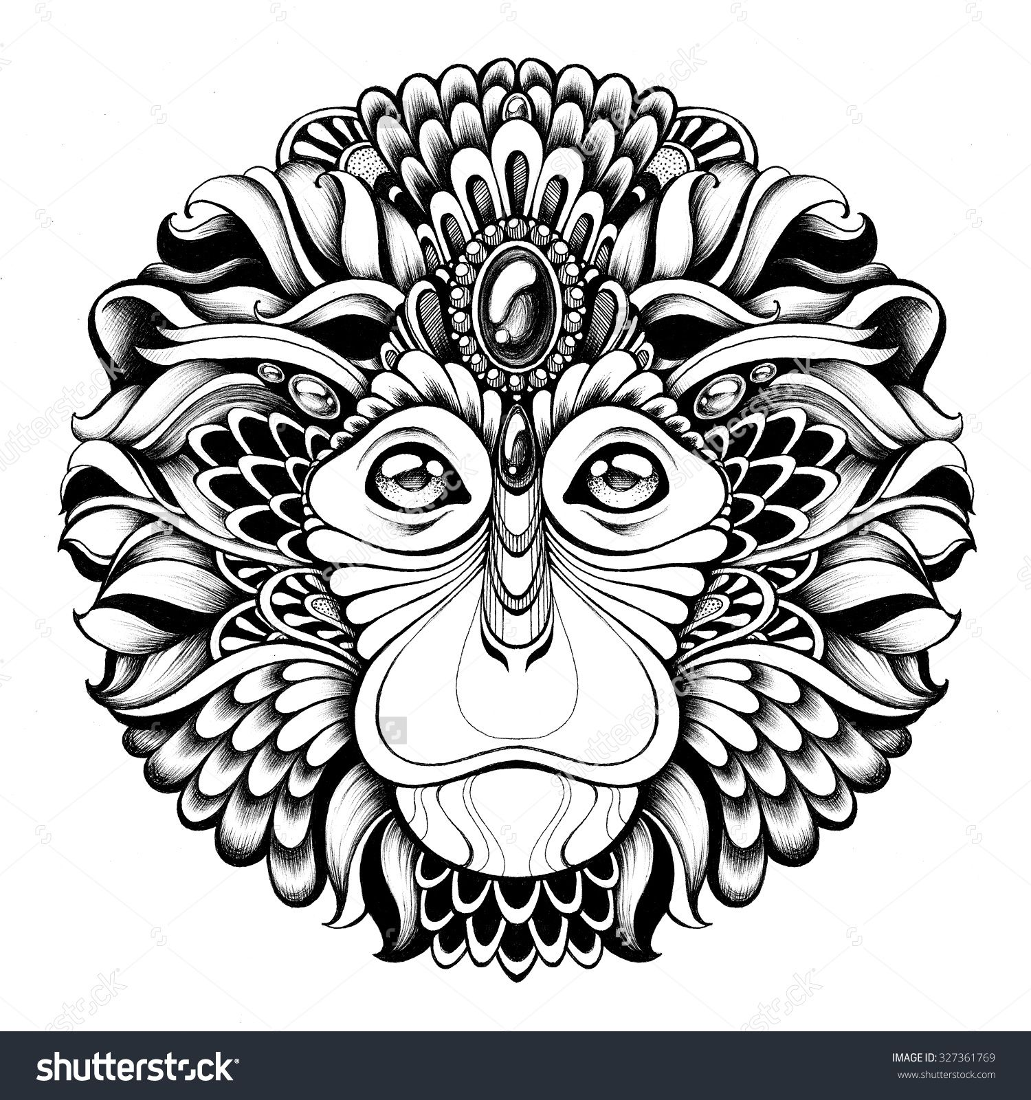 d1e40fddd0 Head monkey with ethnic motifs. Handmade black and white graphics. Tattoo  design, poster, print, T-shirt, greeting card.