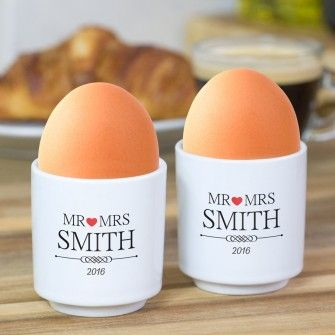 Mr And Mrs Personalised Egg Cup Set